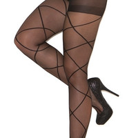 Sheer Pantyhose with Criss Cross Detail