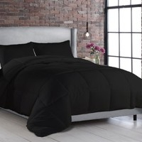 3pc Black Goose Down Alternative Comforter Set with Shams, Contemporary Modern Comforter - Hypoallergenic Box Stitched (Full/Queen)