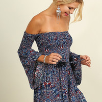Off Shoulder Romper - Navy - Ships Tuesday August 30