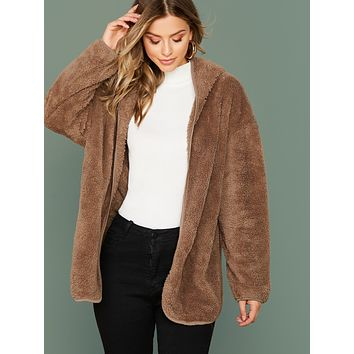 SHEIN Open Front Hooded Teddy Coat