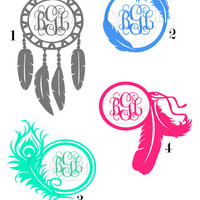 Buy One, Get ONE FREE Personalized Monogram Decal, Feather Monogram Sticker, Car Decal, Vinyl Monogram, Initials Sticker, Custom Vinyl Decal