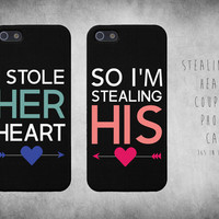 Cute Matching Stealing Heart Couple iphone 4/4s, 5/5s, 5c, Galaxy s3, s4 Case Set