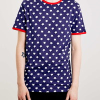 Navy And Red Stars Ringer T-Shirt