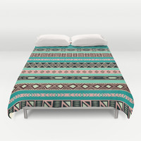 Aztec Tribal Pattern Duvet Cover by RexLambo