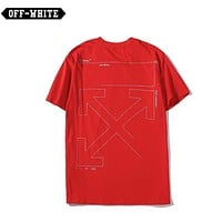 Off White New fashion letter print couple top t-shirt Red