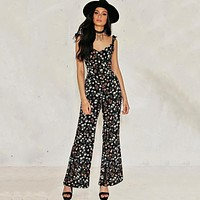 2017 Jumpsuits Summer Boho Style Chiffon Rompers Womens Jumpsuit Floral Backless Off Shoulder Beach Sexy Playsuit Overalls