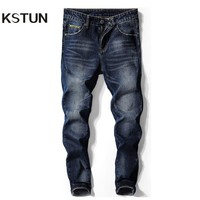 KSTUN Jeans Mens Clothing 2018 Autumn Business Casual Stretch Slim Skinny Broken Pockets Ripped Biker Pants Male Trousers Homme