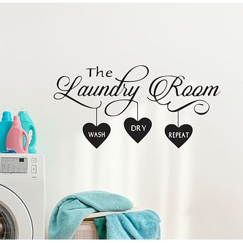 Wall Decal Laundry Room Washing Dry Funny Art Vinyl Decor Black 35 in x 17 in gz515