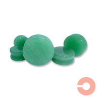 Pair of Green Jade Stone Plugs - 3.2mm - 4mm - 5mm - 6mm - 8mm - 10mm - 12mm - 14mm - 16mm - 19mm - 22mm - 25mm - 8g 6g 4g 2g 0g 00g