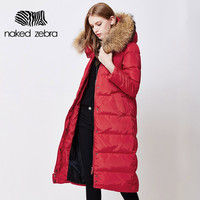 Women Winter Long Duck Down Jacket Fur Collar Lady Hooded Clothing Ultra Light Slim Brand Down Coat