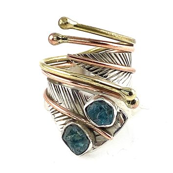 Neon Apatite Three Tone Sterling Silver Adjustable Wrap Ring