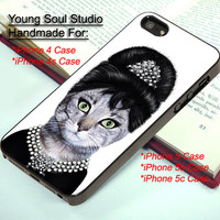 Audrey Hepburn Cat Face - For iPhone 4, iPhone 4s, iPhone 5, iPhone 5s, iPhone 5c Case and Samsung Galaxy S3, Samsung Galaxy S4
