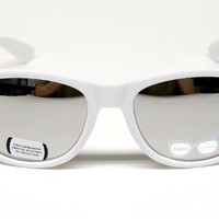 Vintage Wayfarer Retro Mirrored Sunglasses Unisex W110 White / Mirror