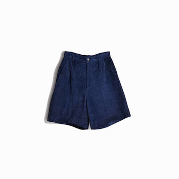 Vintage Navy Blue Leather Shorts / High Waist Shorts / Suede Leather Shorts - women's xs