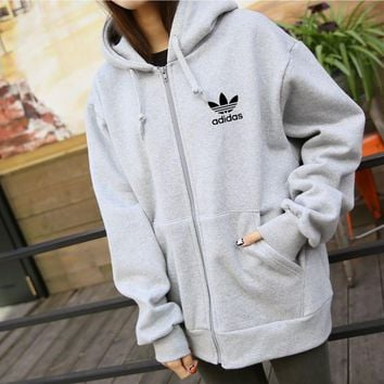 """Adidas"" Sports Loose Casual Long Sleeve Zip Cardigan Hoodie Coat"
