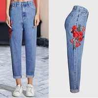 New women's wear rose embroidered jeans women's trousers with high waist baggy jeans