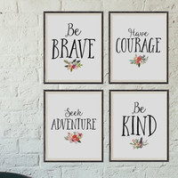 Nursery Art Prints, Set of 4, 8x10 Inch, Nursery Decor, Be Brave, Be Kind, Have Courage, Seek Adventure, Nursery Art, Classroom Art,Guidance