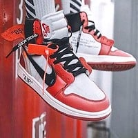 Air Jordan 1 x OFF-WHITE AJ1 OW Chicago Joint high-top shoes