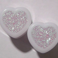 Alice In Iridescent Land Sparkle Heart plugs by GlitzGauge on Etsy