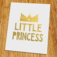 "Little Princess Gold Print (Unframed), Nursery Wall Art, Gold Foil Print, Gold Foil Art, 8x10"", TB-034G"