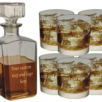 ANY TEXT, Custom Customized Engraved Whiskey Scotch Decanter Set of 6 Glasses 32oz Bottle and 10.5oz Glass - Personalized Laser Engraved Text Customizable Gift