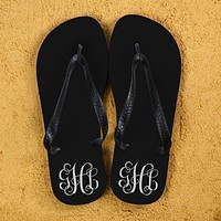 Christmas Present Ideas Monogrammed Flip Flops in Black and White
