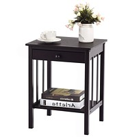 Classic Black Wood 1-Drawer End Table Nightstand Side Table