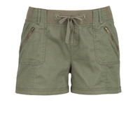 Dusty Olive Ribbed Waist Shorts With Zippers - Dusty Olive