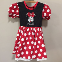 Minnie Mouse Costume Dress, Girls Vintage Disney Minnie Mouse Dress, Red Black Polkadot Disneyland Vintage Girls Vintage Costume Halloween 5