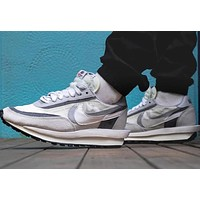 Sacai x Nike LDV Waffle'White Grey' Double Hook Casual Jogging Shoes