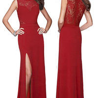 Sleeveless Red Evening Dress with Long Side Slit