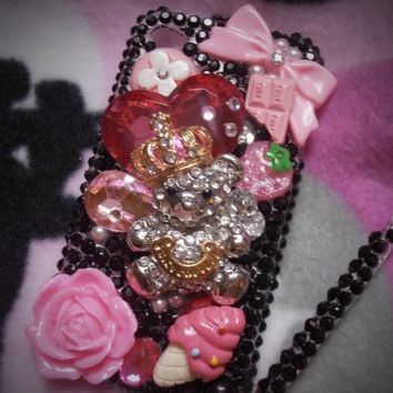 TheCraftStar - Market Place - Kawaii Juicy Couture Chic Cellphone Case With Swarovski Elements  For Iphone 4G/4S-Adorable XL Bear-Heart Black and Pink Theme -