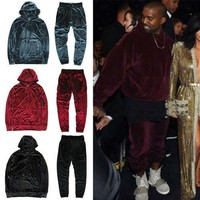 2017 Kanye West YEEZY Men Women Hip Hop Velour Velvet Tracksuit Hoodie Pants Joggers S