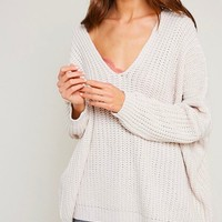 Final Sale - Eight Letters V-Neck Oversized Knit Sweater in Twig