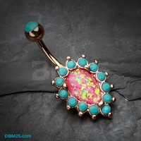 Rose Gold Opulent Opal Turquoise Belly Button Ring