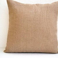 """Amore Beaute Handmade Burlap Pillowcase - Decorative Pillow Cover in Natural Burlap - Burlap Pillow with Button Closure - Throw Pillowcover - Cushion Covers - Gift (24"""" X 24"""")"""
