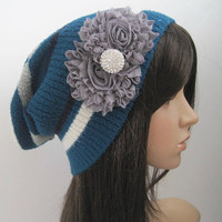 Blue Striped Recycled Sweater Slouch Beanie Choose Grey Black Ivory Flower Accent and Rhinestone Accent Winter Hats Sweater Hats Accessories