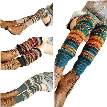 Patterned Winter Warmer,Cashme Leg Warmer, Knee High Boots Cuff ,Knit Wool Crochet Socks Stocking = 1958056260