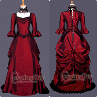 Custom-made Burgundy Gothic Punk Dress Medieval Victorian Gown Ball Costume Alternative Measures - Brides & Bridesmaids - Wedding, Bridal, Prom, Formal Gown