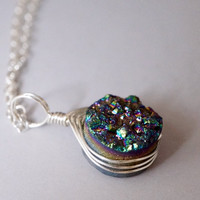 Druzy Necklace in Sterling Silver - Drusy Necklace in Gold Filled - Wrapped Druzy Agate Necklace