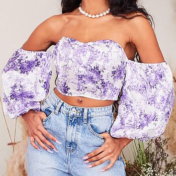 2020 spring and summer new floral one-line neck strapless T-shirt sexy wrapped chest short puff sleeve top purple