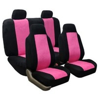 FH-FB105114 Classic Suede Car Seat Covers Pink / Black color Airbag Compatible and Rear Split