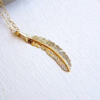 Feather necklace Long Gold Feather Gold fill by lavenders