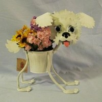 """Bichon Frise indoor or outdoors (garden) décor plant stands. Holds 4"""" pots - 13"""" inches tall"""