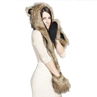 Rabbit Fur Cartoon Hood Hoodie Hat
