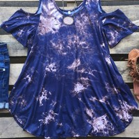 tie dye top with cut out shoulders
