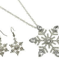 NECKLACE / LINK / METAL / CRYSTAL STONE PAVED / SNOWFLAKE / CHRISTMAS / 2 INCH DROP / 16 INCH LONG / NICKEL AND LEAD COMPLIANT