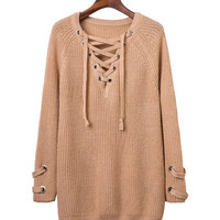 Solid Color Lace-Up Ribbed Sweater