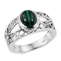 African Malachite Sterling Silver Ring