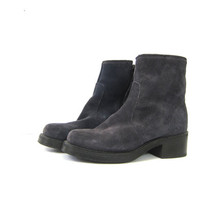 1990s Suede leather Boots with side zippers Chunky Heel Mid Calf Hipster Shoes Women's Durango Boots size 8.5 Smoky Gray Blue Purple